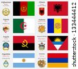 world flags of Afghanistan, Albania, Algeria, Andorra, Angola, Antigua and Barbuda, Argentina and Armenia, with capitals, geographic coordinates and coat of arms, vector art illustration - stock photo