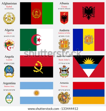world flags of Afghanistan, Albania, Algeria, Andorra, Angola, Antigua and Barbuda, Argentina and Armenia, with capitals, geographic coordinates and coat of arms, vector art illustration - stock vector