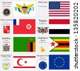 world flags of European Union, Turkish Republic of Northern Cyprus, Virgin Islands, Wake Island, Wallis and Futuna, Yemen, Zambia and Zimbabwe, with capitals, gps and coat of arms, art illustration - stock photo