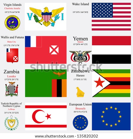 world flags of European Union, Turkish Republic of Northern Cyprus, Virgin Islands, Wake Island, Wallis and Futuna, Yemen, Zambia and Zimbabwe, with capitals, gps and coat of arms, art illustration - stock vector