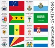 world flags of Samoa, San Marino, Sao Tome and Principe, Saudi Arabia, Senegal, Serbia, Seychelles and Sierra Leone, with capitals, geographic coordinates and coat of arms, vector art illustration - stock photo
