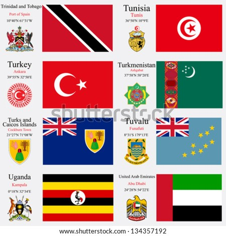 world flags of Trinidad and Tobago, Tunisia, Turkey, Turkmenistan, Turks and Caicos Islands, Tuvalu, Uganda and United Arab Emirates, with capitals, gps and coat of arms, vector art illustration - stock vector