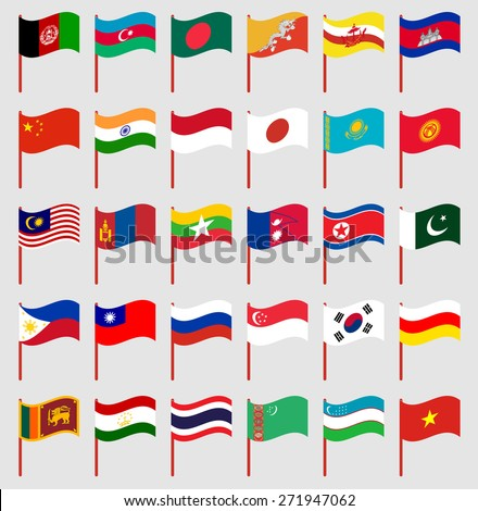World flags on red pole Part 3/6 Asia - stock vector