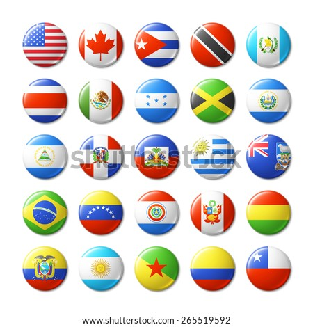 World flags round badges, magnets. North and South America. Vector illustration. - stock vector