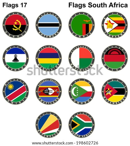 World flags. South Africa. Vector illustration - stock vector
