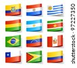 World flags. South America. Vector. - stock photo