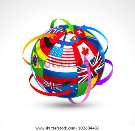 World flags sphere. Vector illustration - stock vector