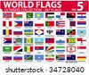 World Flags | Ultimate Collection | 287 flags | Volume 5 - stock vector