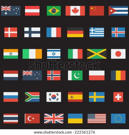 World flags vector collection. 36 detailed flag icons. Flat design. - stock vector