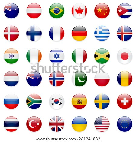 World flags vector collection. 36 high quality clean round icons. Correct color scheme. - stock vector