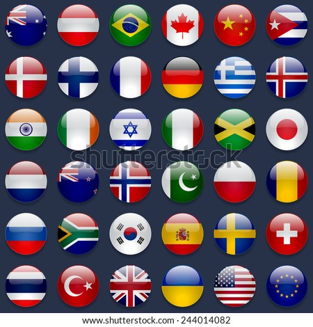 World flags vector collection. 36 high quality round glossy icons. Correct color scheme. Perfect for dark backgrounds.