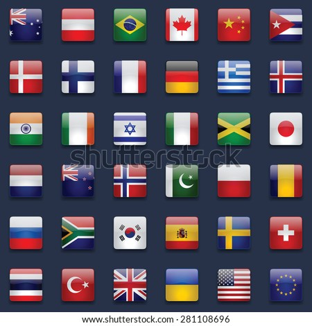 World flags vector collection. 36 high quality square glossy icons. Correct color scheme. Perfect for dark backgrounds. - stock vector