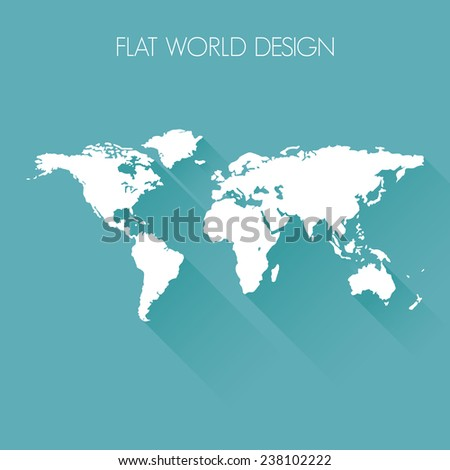 World flat icon design - stock vector