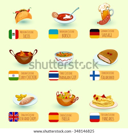 World food international cuisine dishes decorative stock for Around the world cuisine