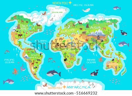 World Geographical Map Flora Fauna Animals Stock Vector - Antarctica physical map cities