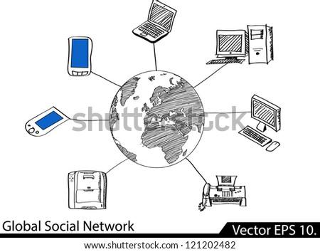 World Global Social Network Communication Vector Sketched, EPS 10. - stock vector
