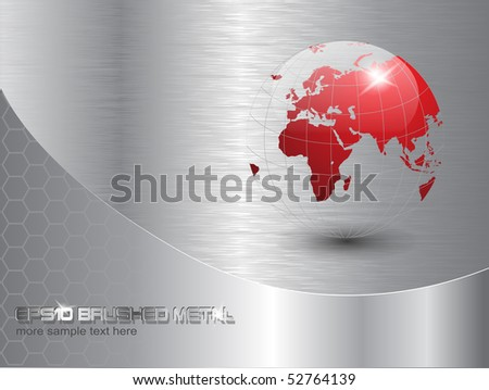 world globe background with polished metal texture. EPS10 vector - stock vector