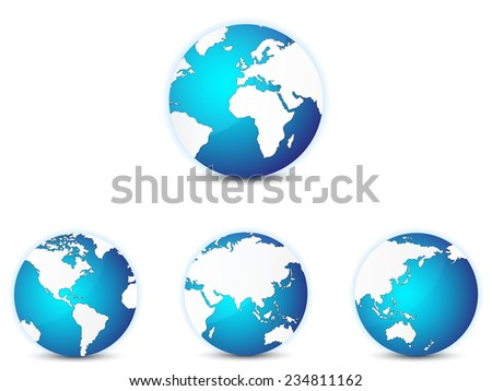 World globe icons set, with different continents in focus. Isolated on white. - stock vector