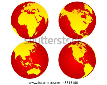 world globe in different positions - stock vector