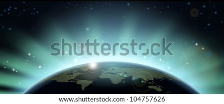 World globe map eclipsing the sun directly behind it. - stock vector