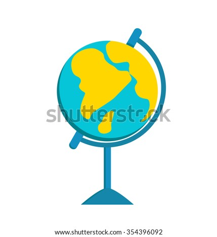World Globe school icon vector education Globe Earth school symbol. Globe vector map. Globe Earth silhouette. Globe background, geography world vector earth. Globe silhouette, Earth map icon isolated - stock vector