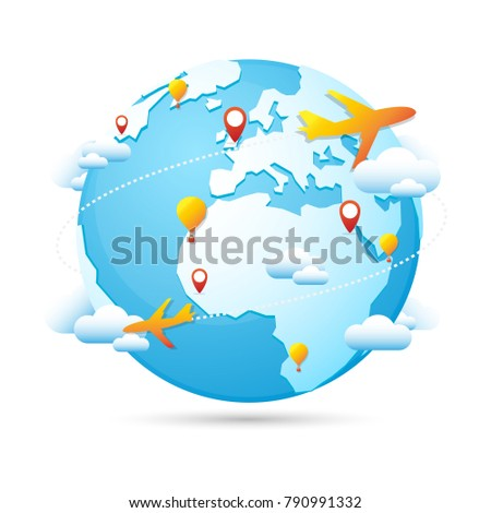 World globe travel around world tourism stock vector hd royalty world globe travel around the world tourism vector icon blue map famous continents in the world gumiabroncs Gallery