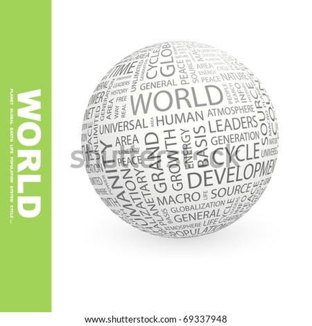 WORLD. Globe with different association terms.