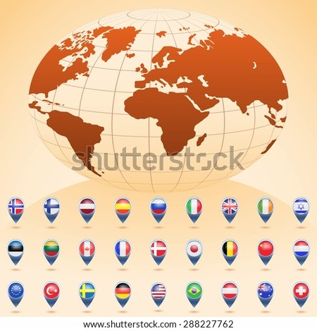 World globe with flags of different countries. Vector illustration. - stock vector