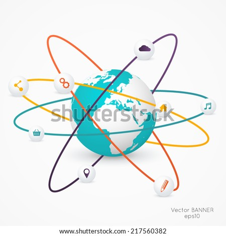 World globe with infographic icons, Business software and social media networking service concept - stock vector