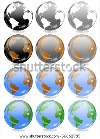 World globes - vector - stock vector