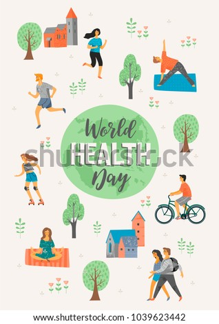 World Health Day. Healthy lifestyle. Roller skates, running, bicycle, walk, yoga. Design element in pastel colors with textures
