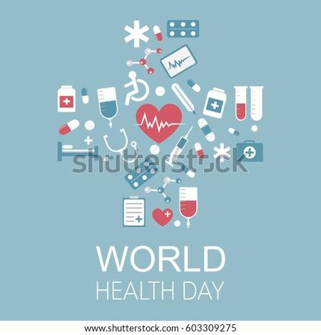 world health day vector illustration medical stock vector