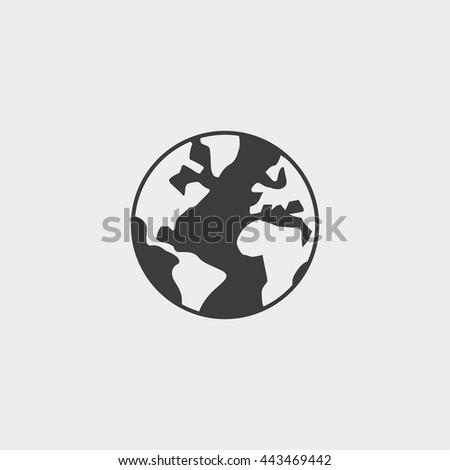 World icon in a flat design in black color. Vector illustration eps10 - stock vector