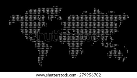 world in digital map vector - stock vector