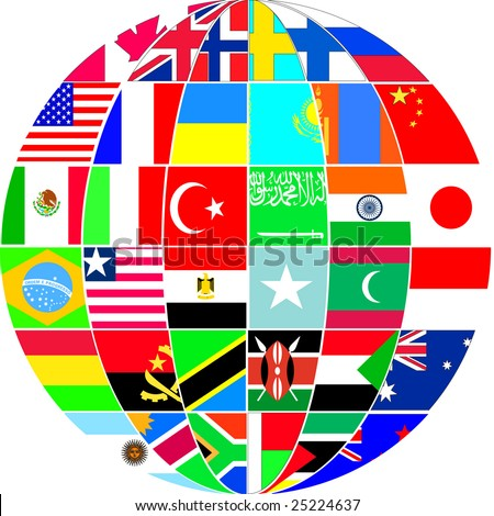 world in flags - stock vector