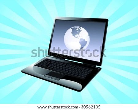 World in the computer as symbol of internet and connection