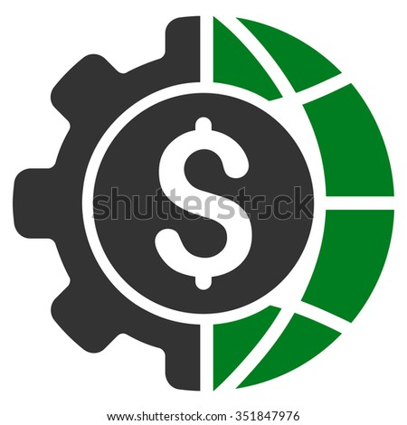 World Industry Finances vector icon. Style is bicolor flat symbol, green and gray colors, rounded angles, white background. - stock vector