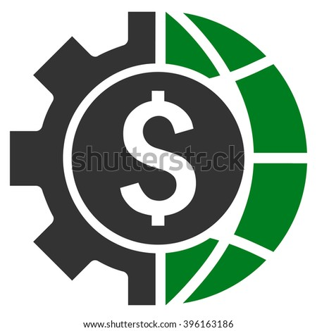 World Industry Finances vector icon. Style is bicolor flat symbol, green and gray colors, white background. - stock vector