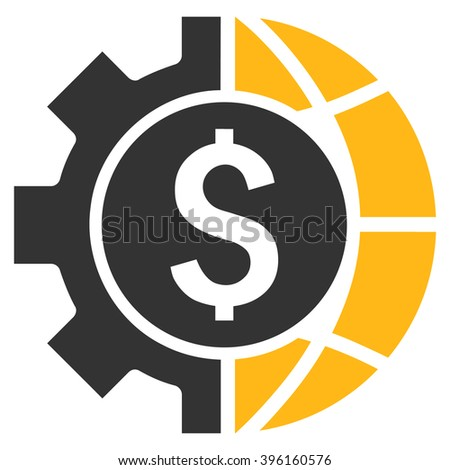 World Industry Finances vector icon. Style is flat symbol, yellow color, white background. - stock vector