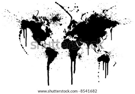 World ink splatter vector illustration. Original world map trace with grunge ink splatters. - stock vector