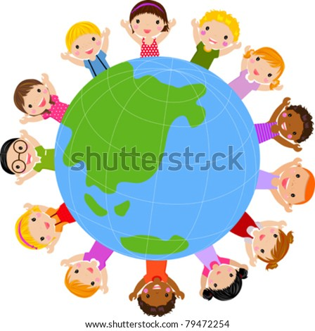 world kids vector - stock vector