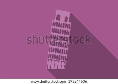World landmark, Leaning Tower of Pisa, Italy, vector illustration - stock vector