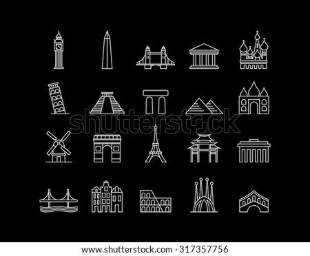 World landmark monuments modern line icon set ideal for travel web, app, or online tourism campaign. EPS10 vector file. - stock vector