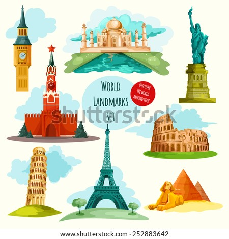 World landmarks decorative icons set with eiffel tower big ben coliseum isolated vector illustration - stock vector