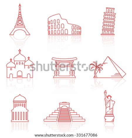 World landmarks line icons with reflection - stock vector