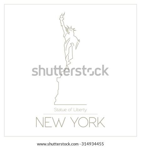 world landmarks new york usa statue stock vector 314934455