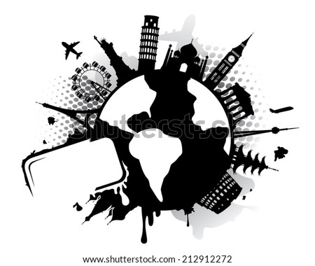 World landmarks on globe with text frame. Landmarks are individually grouped and easy to move. Colors easy to change. - stock vector