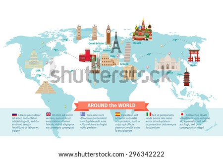 World landmarks on map. Kremlin and Eiffel and Leaning tower, China and Japan and India. Vector illustration - stock vector