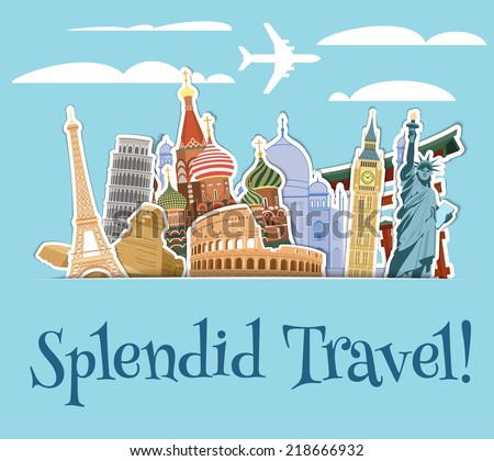 World landmarks sticker icons set with sky scrapbook background vector illustration - stock vector