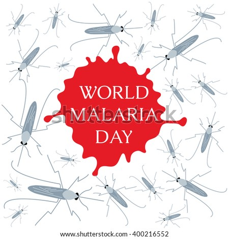 World Malaria Day concept with mosquitoes and drop of blood. Mosquito warning. Malaria awareness sign. Malaria transmission. National malaria day. Malaria solidarity day. Vector illustration.   - stock vector